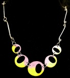 Reversible enamel and fabricated sterling necklace (side 1)