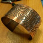 Etched copper cuff with patina