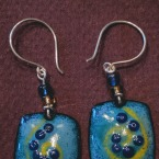 Enameled earrings with sterling wires