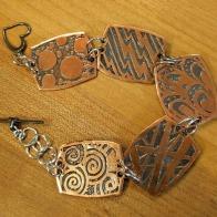 Etched copper and sterling link bracelet