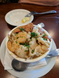 Gumbo - aka: a bowl of tasty glue, with a whole lotta rice, shrimp, Andouille sausage, and some type of fish